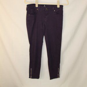 Just Black Purple Ankle Zip Skinny Jeans Size 26